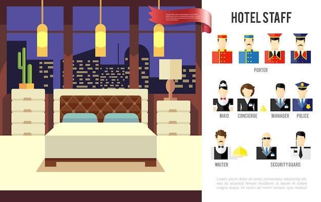 Плоский отель красочная концепция Бесплатные векторы