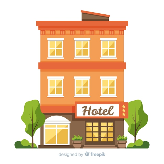 Flat hotel facade background Free Vector