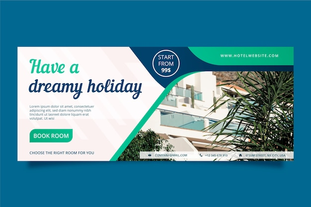 Flat hotel horizontal banner template with photo Free Vector