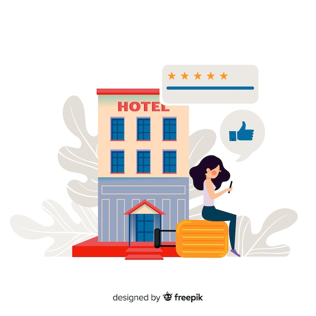 Flat hotel review background Free Vector