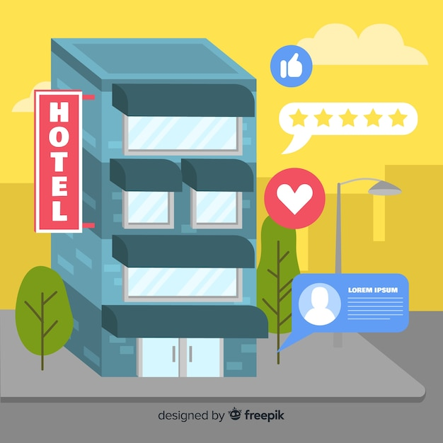 Flat hotel review concept background Free Vector