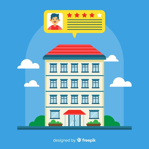 Flat hotel review with stars Free Vector