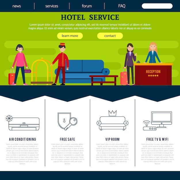 フラットホテルwebページテンプレート 無料ベクター