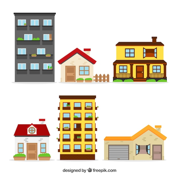 Flat house collection of six Free Vector
