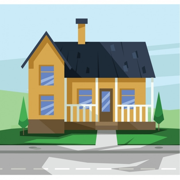 Flat House Design Vector Free Download