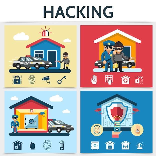 フラットハウスセキュリティシステムハッキングコンセプトハッカー警察ロックカメラリモコン安全警報パームアイ 無料ベクター