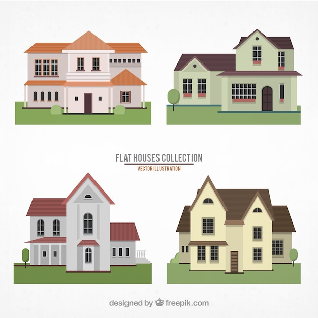 Flat houses collection Free Vector