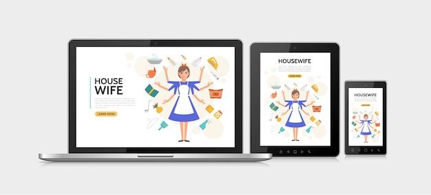 Casalinga piatta concetto di design adattivo Vettore gratuito