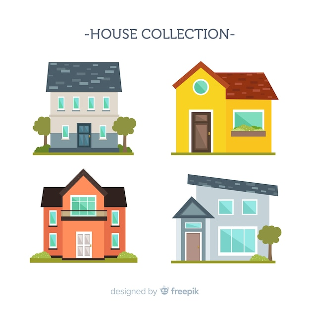 Flat housing collection Free Vector