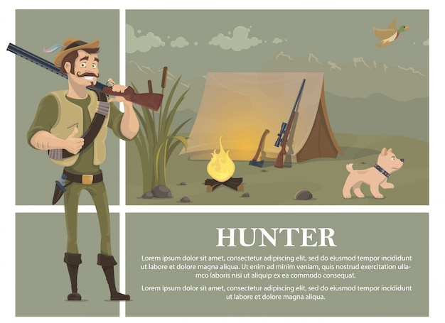 Flat hunting colorful concept with smiling hunter holding shotgun dog ax sniper rifle near tent flying duck reeds bonfire Free Vector
