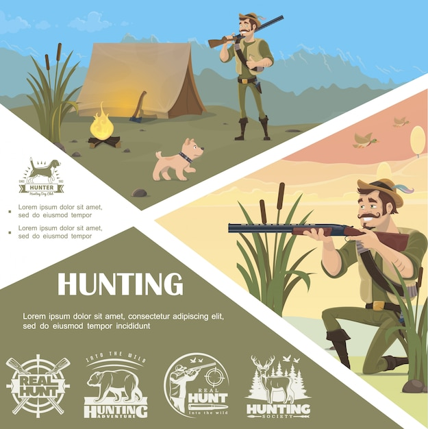 Flat hunting colorful template with standing and aiming hunter camp dog chase monochrome labels Free Vector