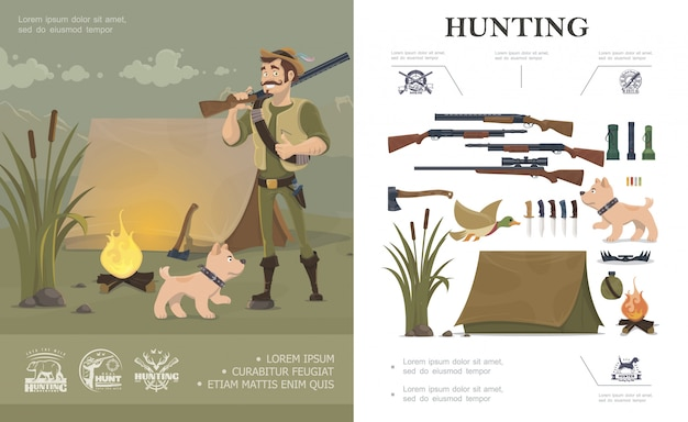 Flat hunting composition with hunter and dog near tent emblems weapon flashlights duck ax bullets trap bottle bonfire Free Vector