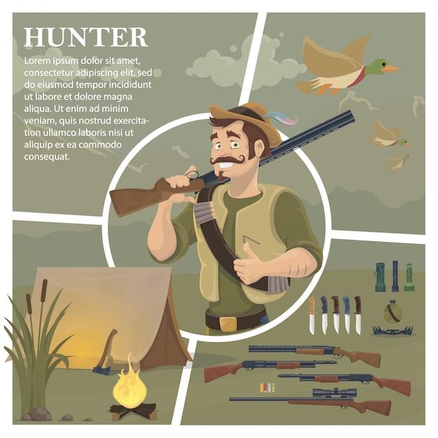 Плоская охотничья композиция с усатым охотником, держащим дробовик, летающие утки, оружие, ножи, фонарики, ловушка для бутылок Бесплатные векторы
