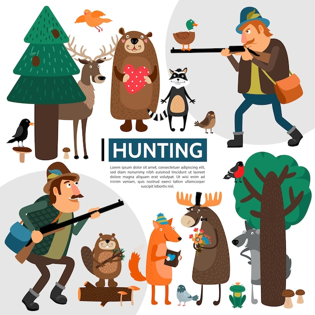 Flat hunting composition Free Vector