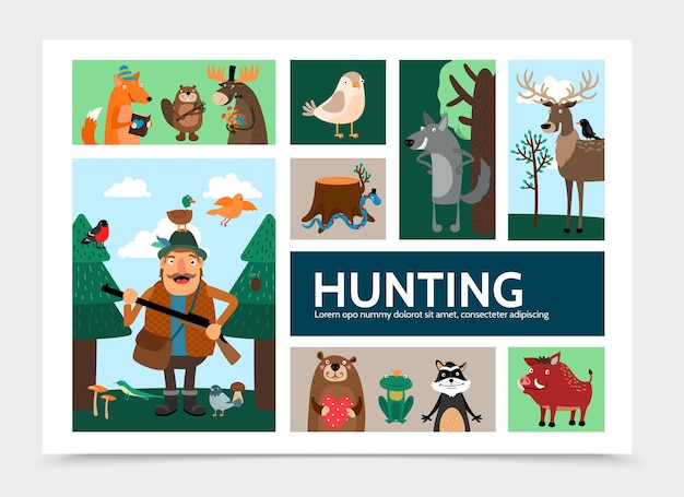 Flat hunting infographic template Free Vector