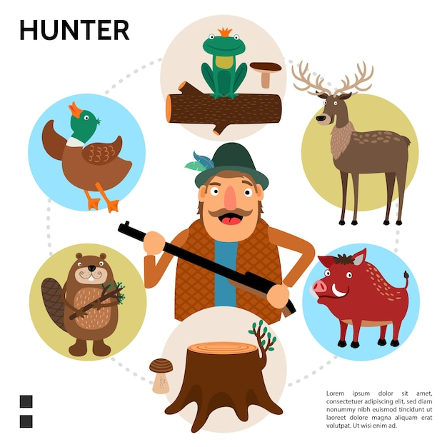 Flat hunting round concept Free Vector
