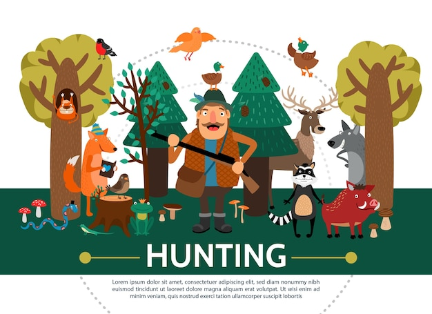Flat hunting template Free Vector