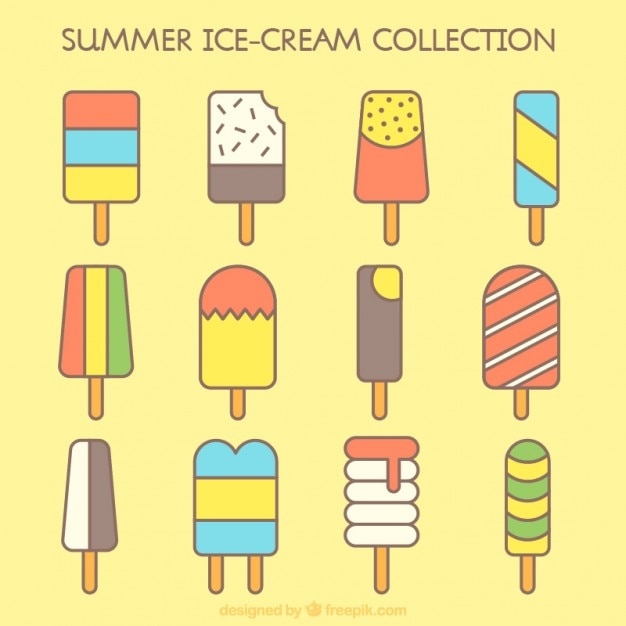 Flat ice-cream collection with different shapes Free Vector