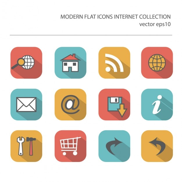 Flat icon of internet items Free Vector