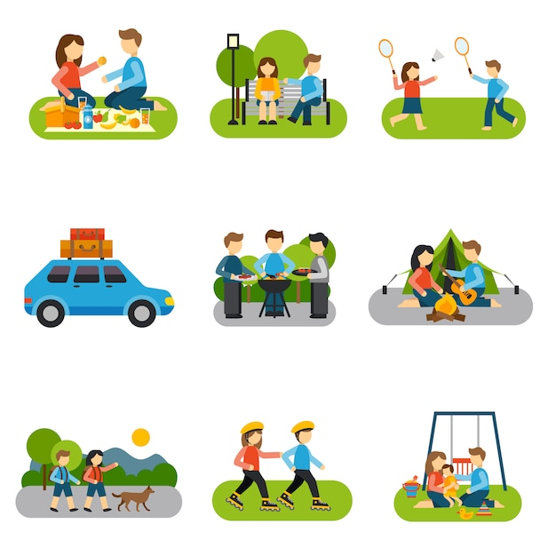 Flat icon outing Free Vector