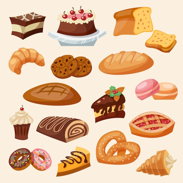 Flat icon pastry set Free Vector