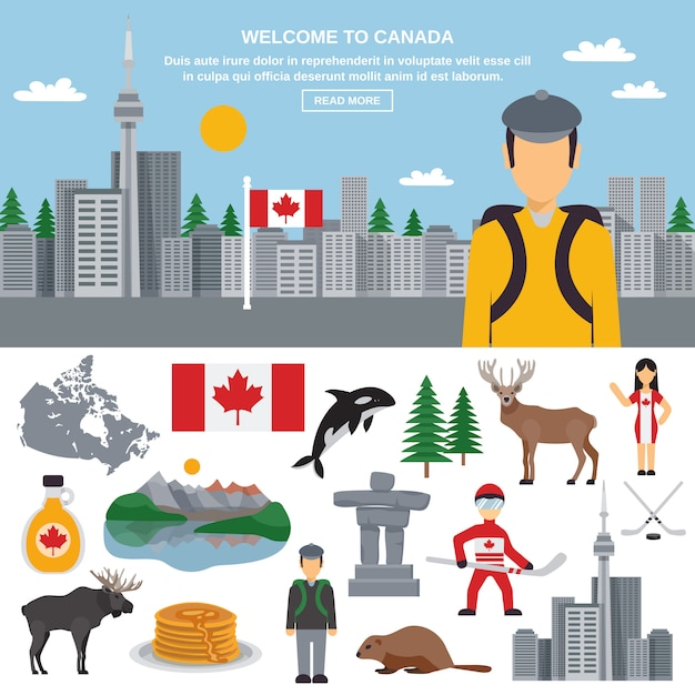 Flat icon set of canada Free Vector