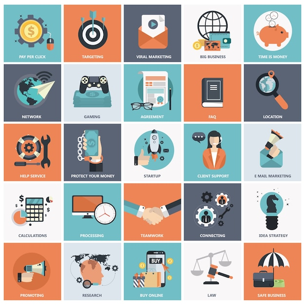 flat icon set for business vector free download