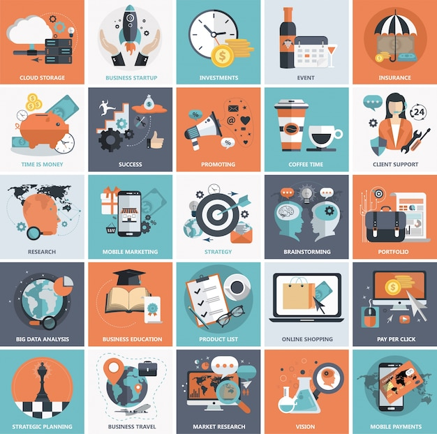 Flat icon set for business Free Vector