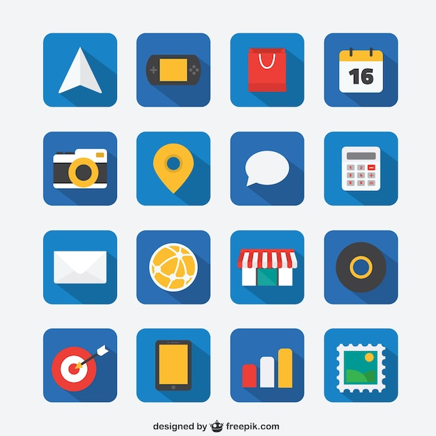 Flat icon set for Web and Mobile App Free Vector