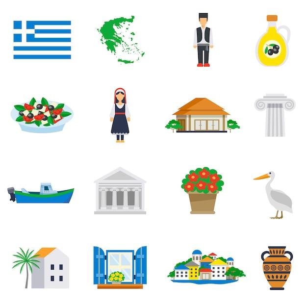 Piatto icon set grecia Vettore gratuito