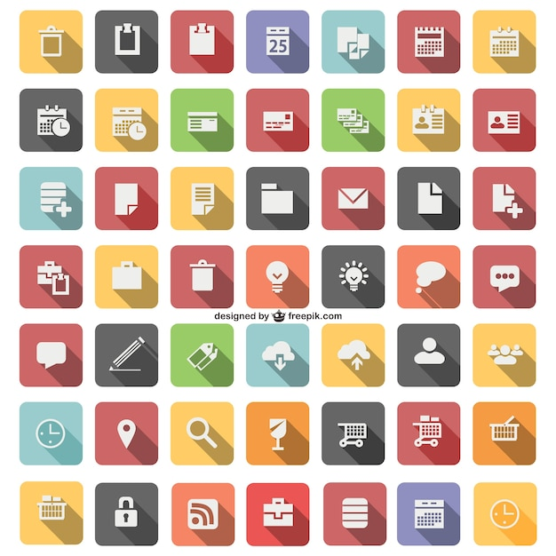 Flat icon set Free Vector