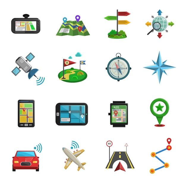 Расположение flat icon set Бесплатные векторы