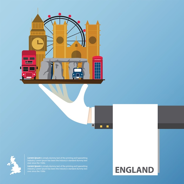 Flat icons design of united kingdom  landmarks. Premium Vector