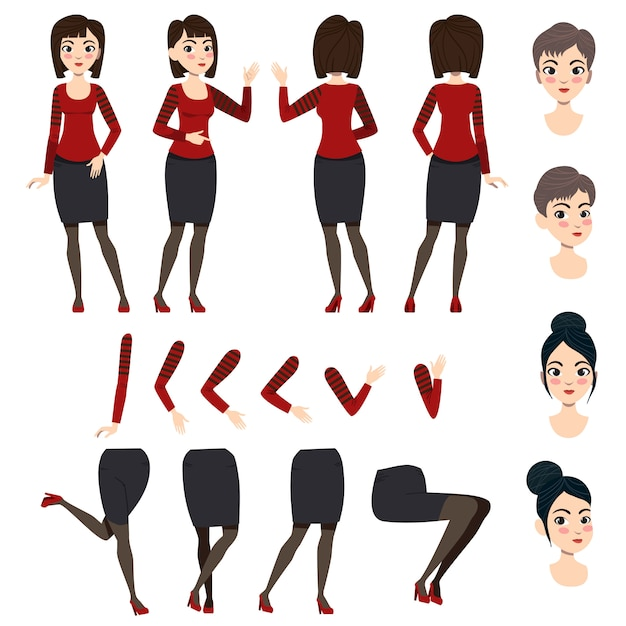 Flat icons set of asian lady Free Vector