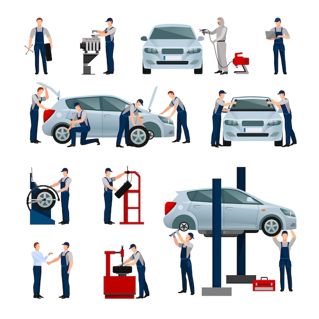Flat icons set of different workers in car Free Vector