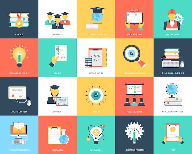 Flat icons set of education Premium Vector