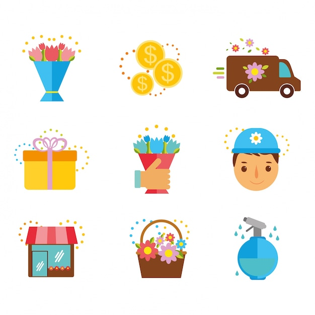Flat icons set flower delivery Free Vector