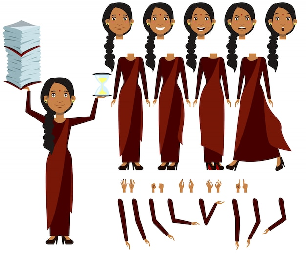 Flat icons set of indian woman views, poses and emotions Free Vector