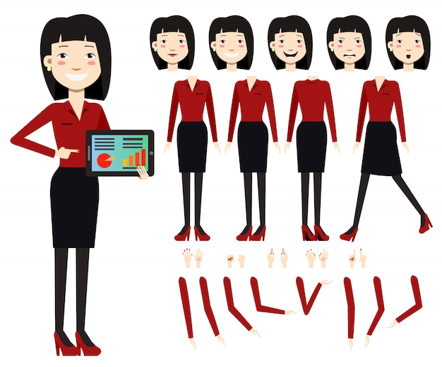 Flat icons set of business woman with charts on\ tablet screen