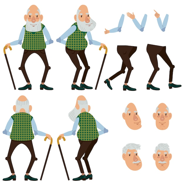 Flat icons set of old man with stick Free Vector