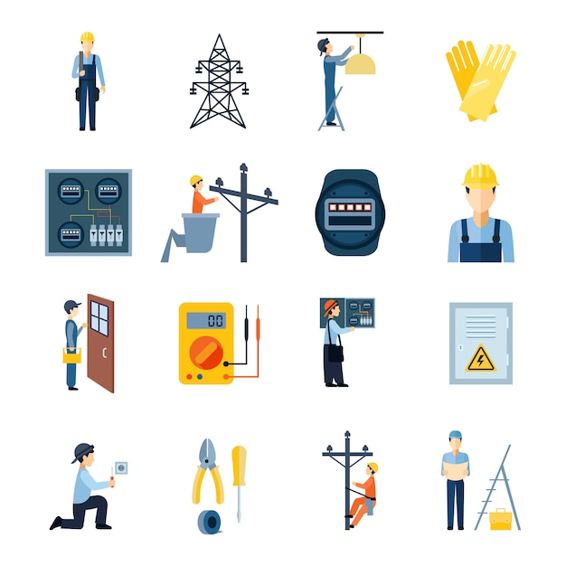 Flat icons set of repairmen electricians handymen figures and electric equipments Free Vector