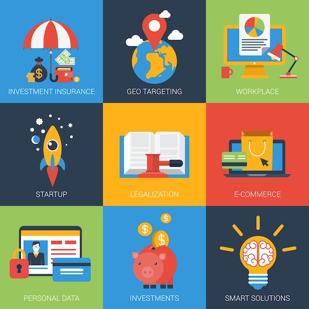 Flat icons set startup investment geo targeting insurance personal data smart solutions Free Vector
