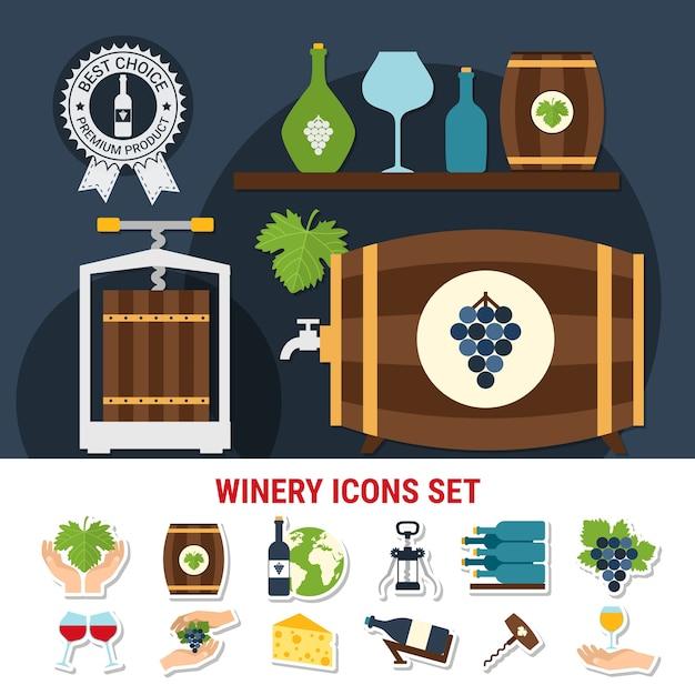 Плоские иконки с винными бутылками, бокалами, другой посудой, виноградом и сыром, изолированные Бесплатные векторы