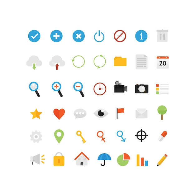 Flat icons for ui design Premium Vector