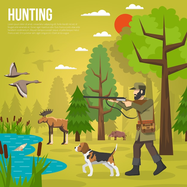 Flat icons with hunter aiming at ducks Free Vector