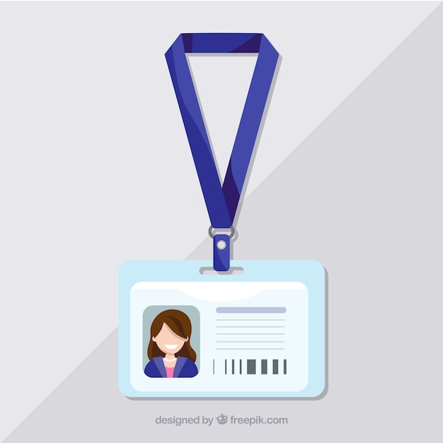 Flat Id Card Template With Clasp And Lanyard Vector Free Download - Lanyard template