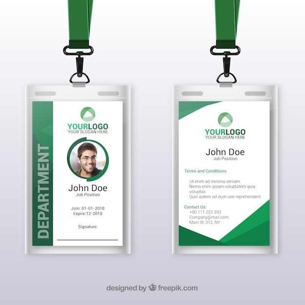 Flat id card template with clasp and lanyard Free Vector