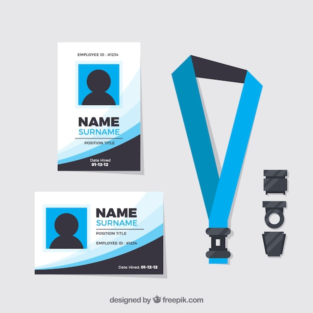 Premium Vector Flat Id Card Template With Clasp And Lanyard