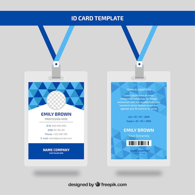 Free Vector Flat Id Card Template With Clasp And Lanyard