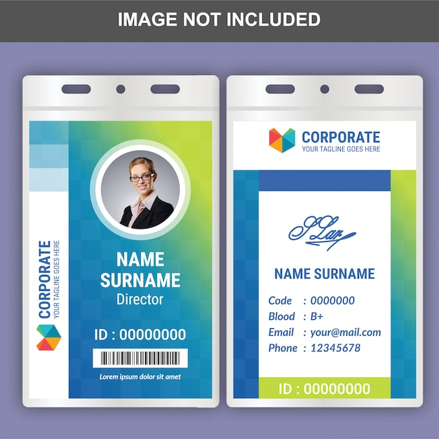 Flat id card template Premium Vector